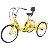 YiiYYaa Adult Tricycle Trike Cruise Bike, 24 Inch