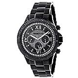 Mens Black Diamond Watch 0.20ctw of diamonds by Luxurman Black Steel B