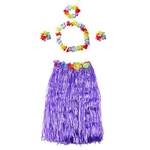 Hawaiian Dance Costumes For Kids (Hawaiian Grass Skirt Party Decorations Supplies Dress Children Adult Hula Show Grass Beach Dance Activity Skirt Purple)