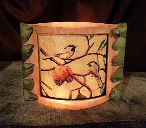 Embedded Ribbon (vigneri Candle Opera, Wood Veneer, 5''x7'' with our''Chickadees'' Image, with Ribbon Edges)