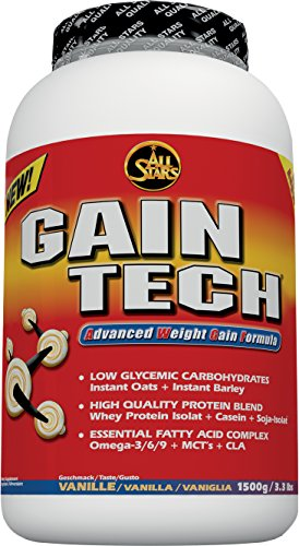 All Stars Gain-Tech Weight Gainer, Vanille, 1er Pack (1 x 1500 g)