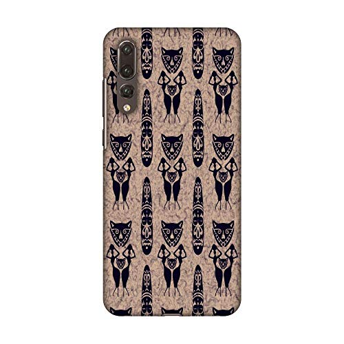 AMZER Handcrafted Designer Printed Snap On Hard Shell Case Back Cover with Screen Cleaning Kit for Huawei P20 Pro - Tribal Murals- Charcoal Black and Eggplant Purple HD Color, Ultra Light