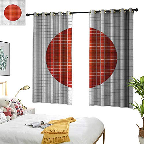 RuppertTextile Abstract Insulated Sunshade Curtain Mosaic National Flag of Japan Grunge Fractal Background Modern Graphic Print 63