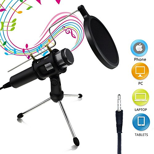 Dual Voice Ribbon Microphone (Buluri Broadcasting Recording Condenser Microphone Professional Computer Microphone for Recording 3.5mm Plug &Play for Cellphones, Laptop, Computer, PC, Youtube, Facebook Live Stream (Type 2))