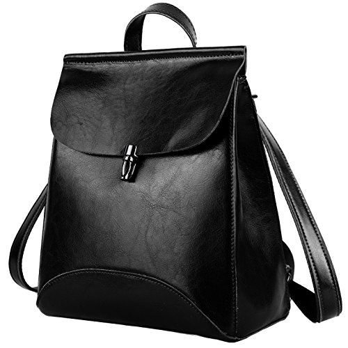YALUXE Women's Convertible Real Leather Backpack Versatile Shoulder Bag (Upgraded 2.0) Black 2