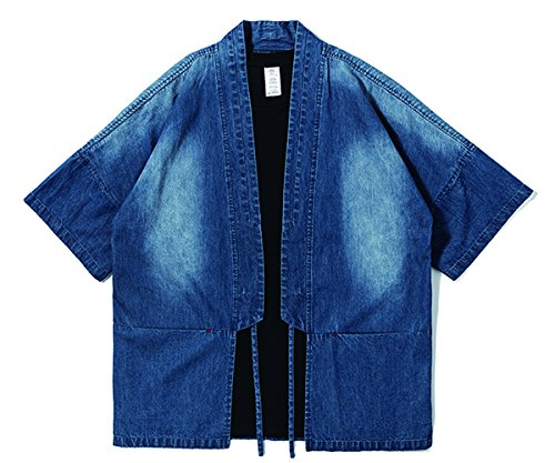 - SAINDERMIRA Men's Pure Cotton Kimono Style Casual Shirt Noragi Lightweight Jackets Frock(Indigo,M)