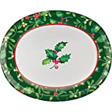 Club Pack of 96 White, Green Holy Berries Printed Square Luncheon Plates 7.1''