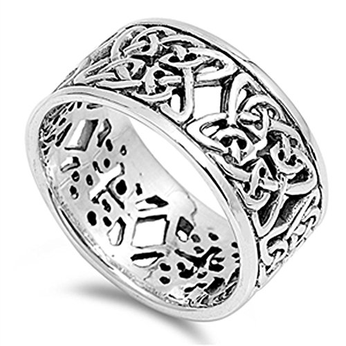 Women's Celtic Knot Eternity Fashion Ring .925 Sterling Silver Band Size 13