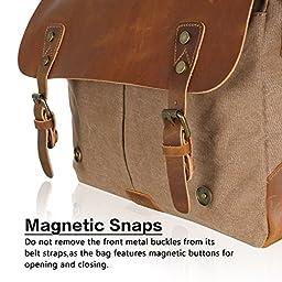 Lifewit Leather Vintage Canvas Laptop Bag, 13\