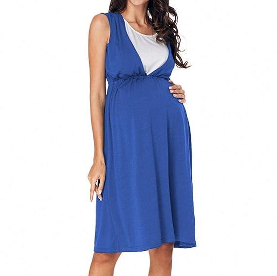 BBsmile Ropa premamá Mujeres Embarazadas Mini Cintura Alta Vestido de la túnica Summer Vest Vestido de