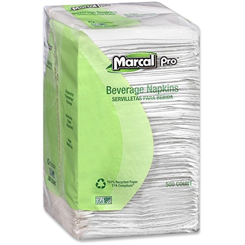 Marcal PRO 28CT 100% Recycled Beverage Napkins, 1-Ply, 9 3/4 X 9 1/2, White (Case of 4,000) by Marcal (Image #3)
