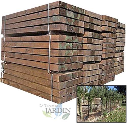 TRAVIESA DE MADERA PARA JARDIN. Color marrón oscuro, madera tratada. (22x12x200 cm): Amazon.es: Bricolaje y herramientas