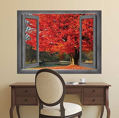 Open Window Creative Wall Decor Goregous Birghtly Colored Tree Surrounded by Red Orange Leaves Wall Mural