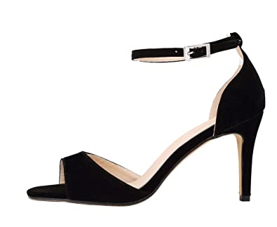 f31239a5148 CAMSSOO Women s Classical Strappy Sandals Open Toe Low Heels Black  Velveteen 2.5 UK M