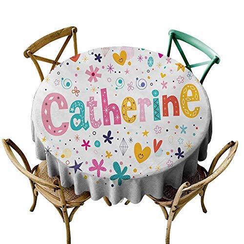 W Machine Sky Table Cover Catherine,Colorful Alphabet Design Ornate Lettering Nursery Themed Arrangement Dots Pattern,Multicolor Diameter 60