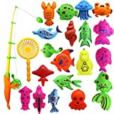 Bath Toy, 22pcs Colorful Magnetic Fishing Toy Floating Fish Toy Set Includes a