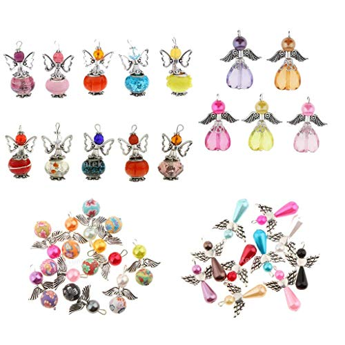 (35PCS Angel Wings Charms Pendants Faceted Acrylic Heart Teardrop Beads Wings for Necklace Earring Bracelet Crafts Jewelry Making Findings)