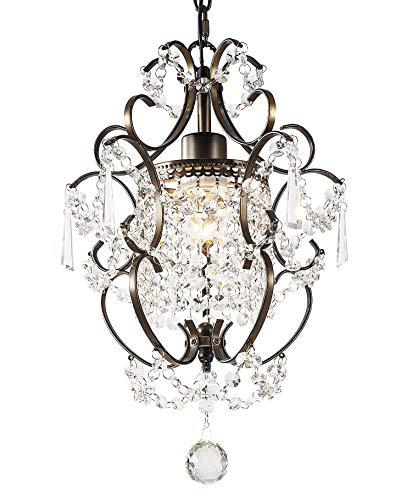 LuFun Chandeliers,Modern Crystal Chandelier Pendant Lighting,Ceiling Lights Fixtures,Bronze,1-Light