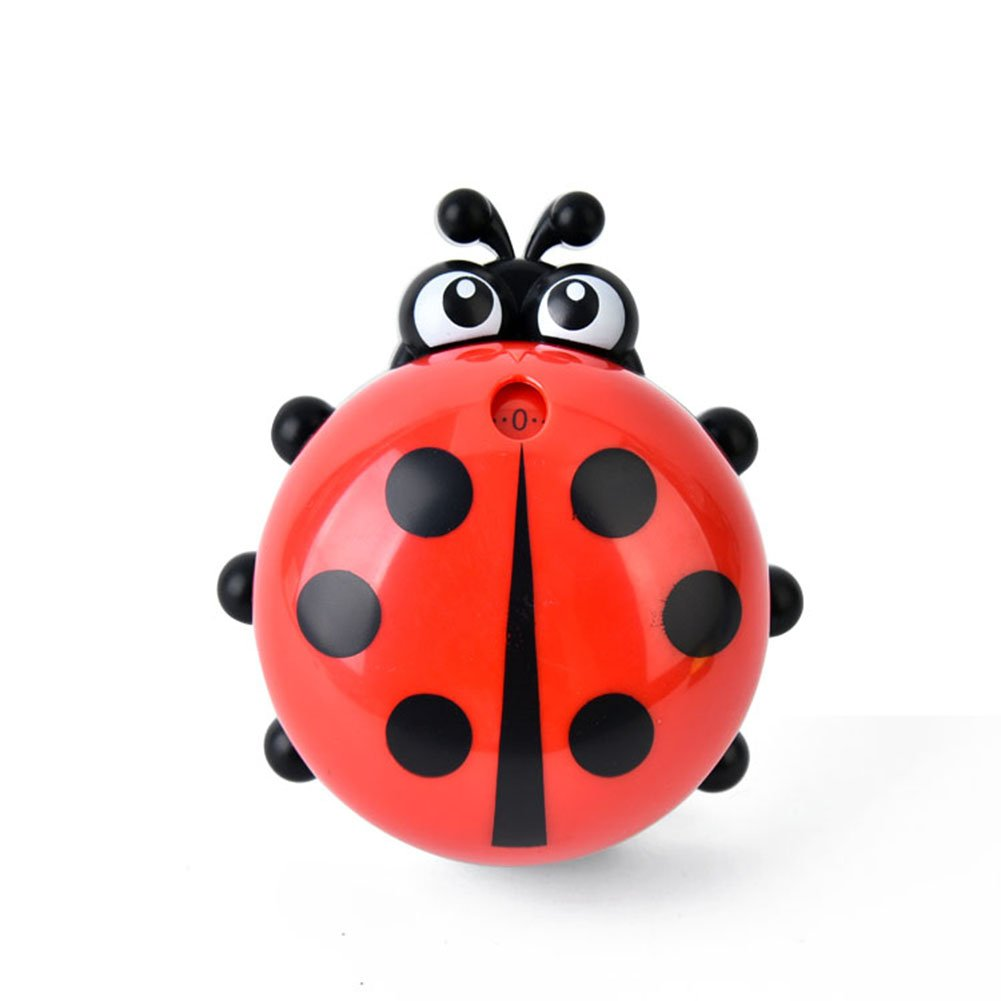 Cute Ladybug Machinery Timers 60 Minutes Mechanical Kitchen Cooking Timer Clock Loud Alarm Counters Manual Timer Kitchen Utensil (Red)