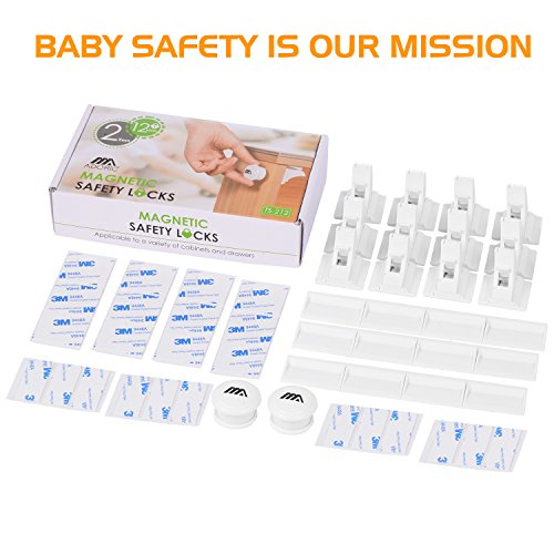 Large Product Image of Magnetic Baby Proofing Safety Locks, 12 Locks with 2 Keys, 3M ADHESIVE for Cabinet Drawer Baby Safety Cabinet Locks, No Drilling or Screws Needed, White