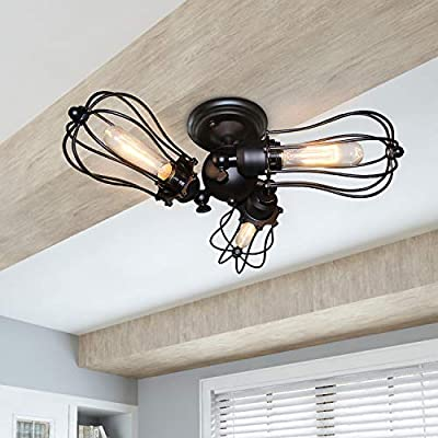 LALUZ Light Fixtures Ceiling Wire Cage 3 Industrial Adjustable Flush Mount Metal Lamp with Black Finish, UL Listed, E26 Bulb (Not Included), A03164