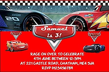Personalised Cars 3 Theme Birthday Party Invitations X10 Amazoncouk Office Products