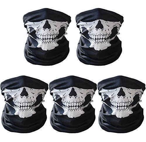 Advgears 5 Pack Seamless Skull Face Mask OutdoorMotorcycle Skull Face Skeleton Tube Mask HeadwearHalf Face Mask for Halloween Cosplay (Great Skull Masks)