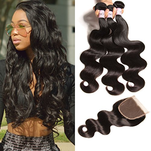 - UNice Hair Icenu Series 8a Indian Body Wave Hair 3 Bundles With Lace Closure,100% Unprocessed Human Hair Extensions Weave (20 22 24+18 Free Part Closure)