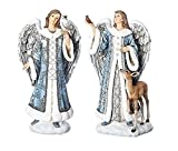 Roman Inc. 9''H Enchanted Holiday Collection Blue Angels with Animals Set of 2 Assorted - Angel with an Owl and Angel with a Cardinal and Deer 633204