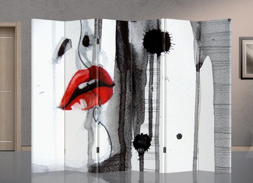 Double Sided Canvas Screen Room Divider - Beauty Face by Dragon Arts