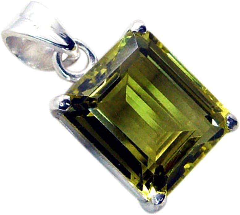 Gemsonclick Natural Lemon Quartz Pendant For Women Princess Cut Charm 925 Silver Astrological Jewelry