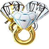 3pcs Diamond Engagement Wedding Ring Balloons - 45'' Giant Bachelorette balloons for Wedding Anniversary Engagement Party Decorations/Christmas Gift/Party Supplies
