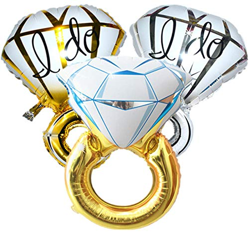 3pcs Diamond Engagement Wedding Ring Balloons - 45'' Giant Bachelorette balloons for Wedding Anniversary Engagement Party Decorations/Christmas Gift/Party Supplies by mapnana