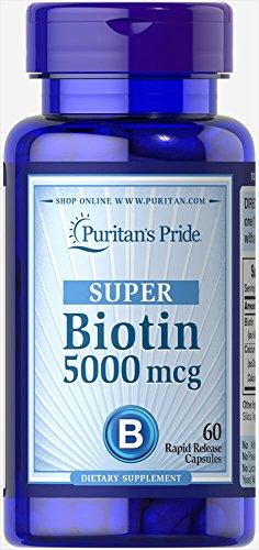 Puritan's Pride Vitamin Capsules, Super Biotin, 5000 mcg, 60 Count