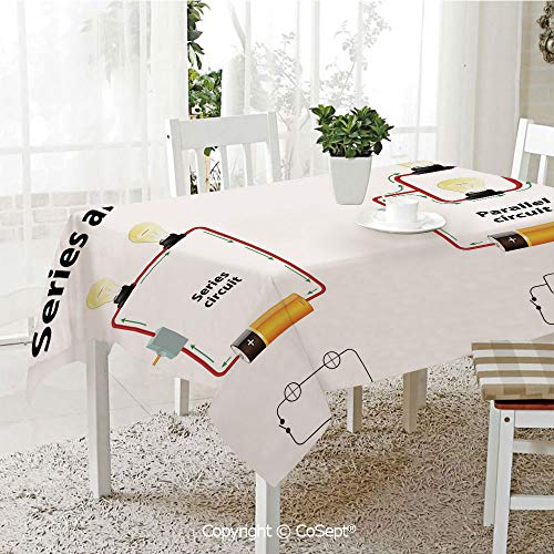 SCOXIXI Rectangle Tablecloth,Series and Parallel Circuits Voltage Electric Science Equipment Print,Great for Table,Parties,Holiday Dinner(60.23