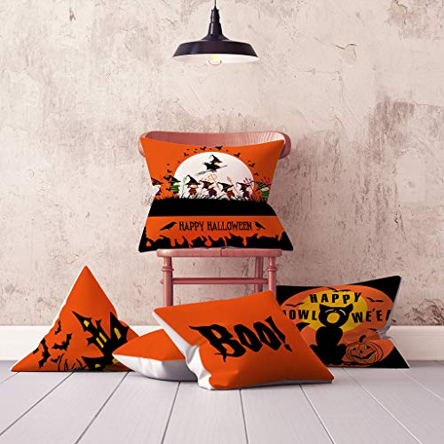 Pumpkin Ghost Throw Pillow Case,Halloween Softer Cushion Cover Decorative,Washable Cotton Blend Linen Pillowcase,Floor Pillow Seating Cushion for Bedroom,Patio,Couch, Sofa (N) (Ideas Seating Patio Diy)