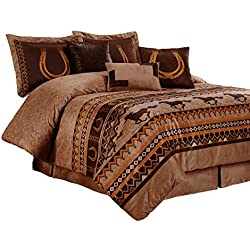Chezmoi Collection Sedona By 7-piece Southwestern Wild Horses Microsuede Bedding Comforter Set (Queen)