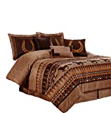 Chezmoi Collection Sedona 7-Piece Southwestern Wild Horses Microsuede Bedding Comforter Set (King), Brown
