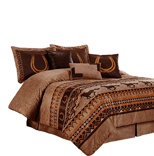 (Chezmoi Collection Sedona 7-Piece Southwestern Wild Horses Microsuede Bedding Comforter Set (King), Brown)