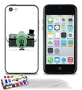 Carcasa Flexible Ultra-Slim APPLE IPHONE 5C de exclusivo motivo [Cámara] [Negra] de MUZZANO + 3 Pelliculas de Pantalla UltraClear + ESTILETE y PAÑO MUZZANO® REGALADOS - La Protección Antigolpes ULTIMA, ELEGANTE Y DURADERA para su APPLE IPHONE 5C