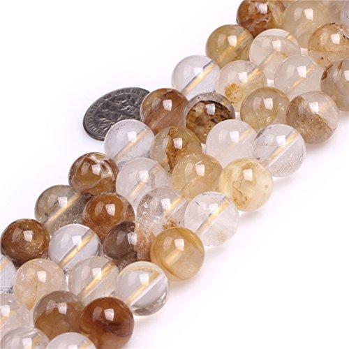Rutilated Quartz Round Beads (12mm Semi Precious Round Smooth Yellow Rutilated Quartz Gemstone Beads for Jewelry Making Strand 15