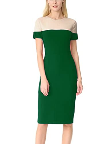 SYLVIEY Women Contrast Summer Business Working Cocktail Party Pencil Dress