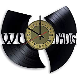 Wu Tang Clan vinyl wall clock - handmade artwork unique home bedroom living kids room nursery wall decor great gifts idea for birthday, wedding, anniversary - customize your clock (Gold/Black)