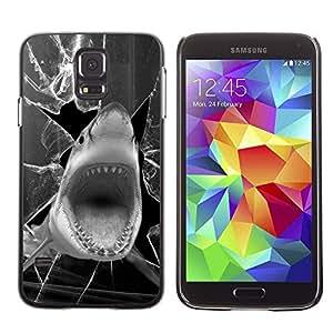 Caucho caso de Shell duro de la cubierta de accesorios de protección BY RAYDREAMMM - Samsung Galaxy S5 SM-G900 - Shark Funny Broken Glass Black White