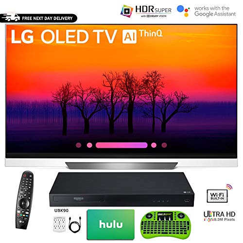 LG 65″ E8 OLED 4K HDR AI Smart TV (2018 Model) Hulu $100 Gift Card + UHD Blu-Ray Player + Wireless Remote Keyboard Bundle- OLED65E8