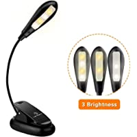 LENCENT USB Rechargeable 4 LED Book Light, 3 Modes (Warm & White LEDs) Clip Reading Light for Beds, LED Clip on Lamp Built in Battery for Reading Books, Magazine and etc [USB Cable Incl]