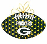 NFL Green Bay Packers Corrugated Metal Football Door Decor, Small, Multicolored