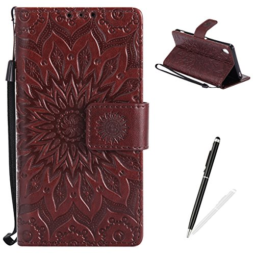 MAGQI Sony Xperia XA Wallet Case Premium Soft PU Leather Cover with Card Slots and Wrist Strap Stand Function Embossed Mandala Cover for Sony Xperia XA + Black Stylus - Brown ()