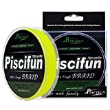 Piscifun PE Braided Fishing Line 547Yd Yellow 25lb Test