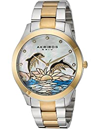 Women's Two-Tone Case with Genuine Swarovski Crystals and White Mother-of-Pearl with Dolphin Dial on Two-Tone Stainless Steel Bracelet Watch AK953DTTG